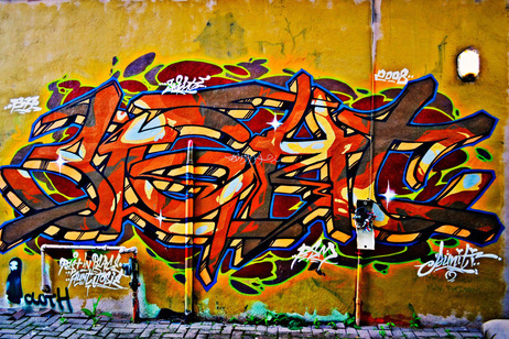 Vivid Colours of Graffiti Wall in Toronto