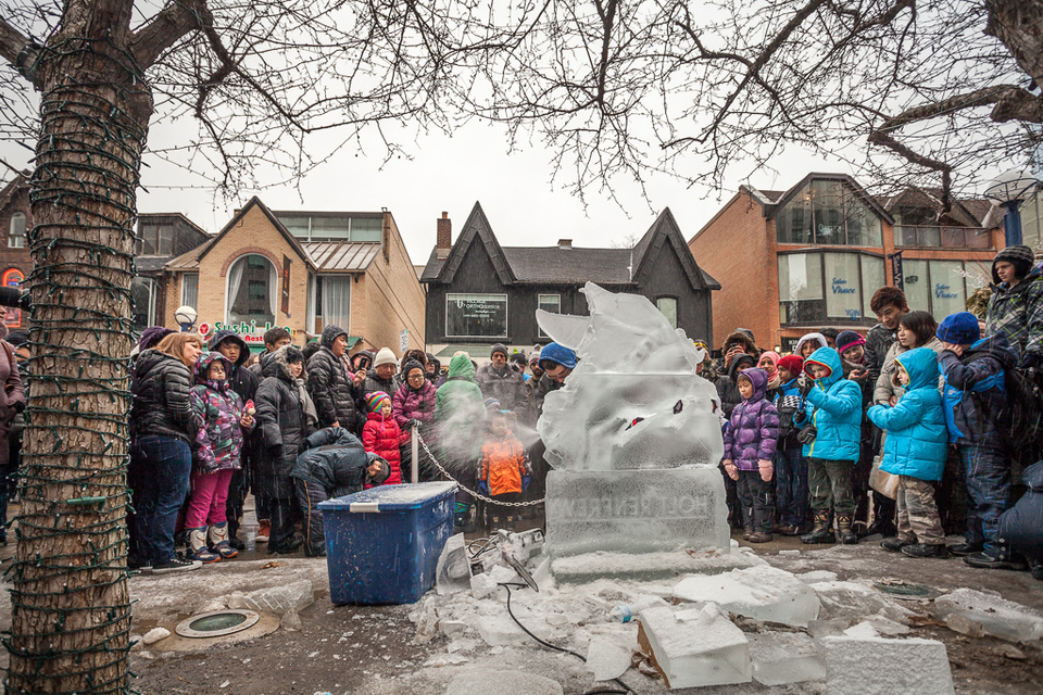 Ice statues in Yorkville streets