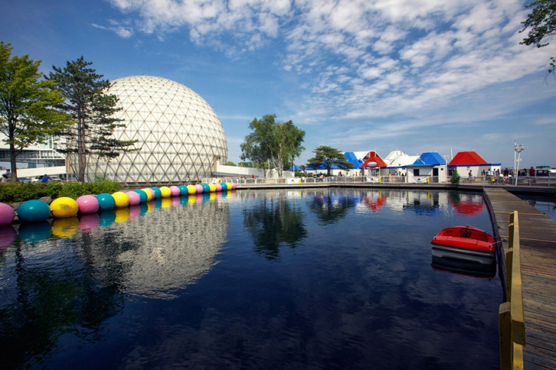 Ontario Place view of Cinesphere Movie Theatre