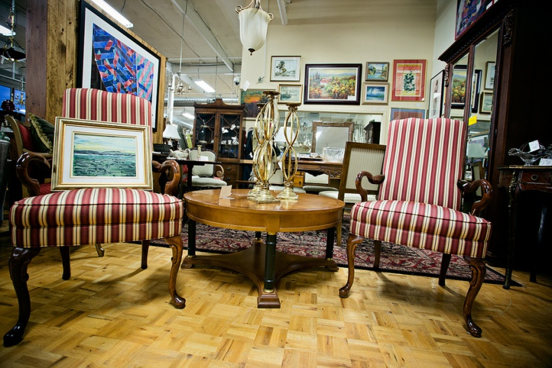 Vintage refurbished chairs striped