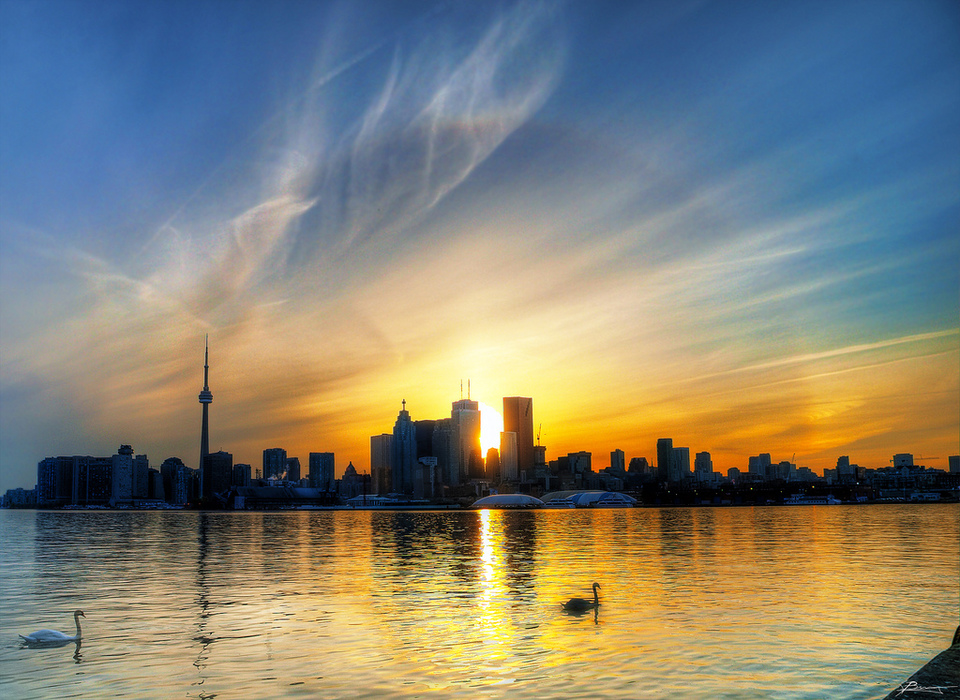 Colorful Sunset In Toronto