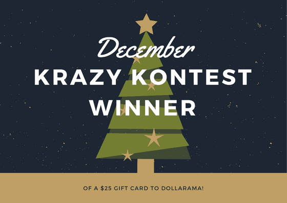 DECEMBER KRAZY KONTEST-winner